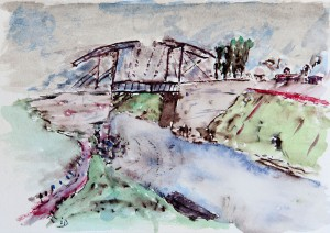 A painting of a bridge