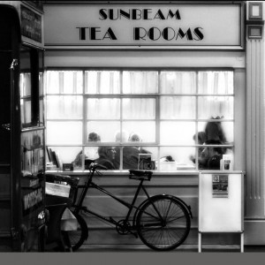 Sunbeam Tea Rooms frontage in black and white