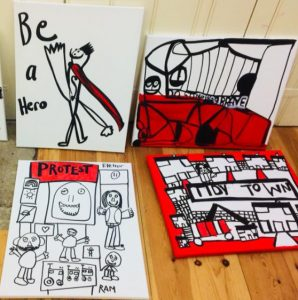 Protest artworks created by JumpstART students in Bury St Edmunds