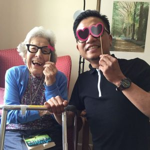 Resident and careworker at Hazel Court Care Home enjoying a bit of fancy dress