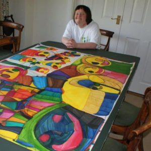 Ruth with her large colour pen artwork