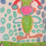 Colourful outfit with lots of circles in felt tip pens