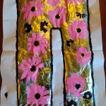 Gold trousers with pink flowers, painted