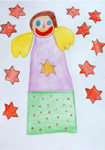 Example Christmas Card Design: Christmas angel surrounded by red stars
